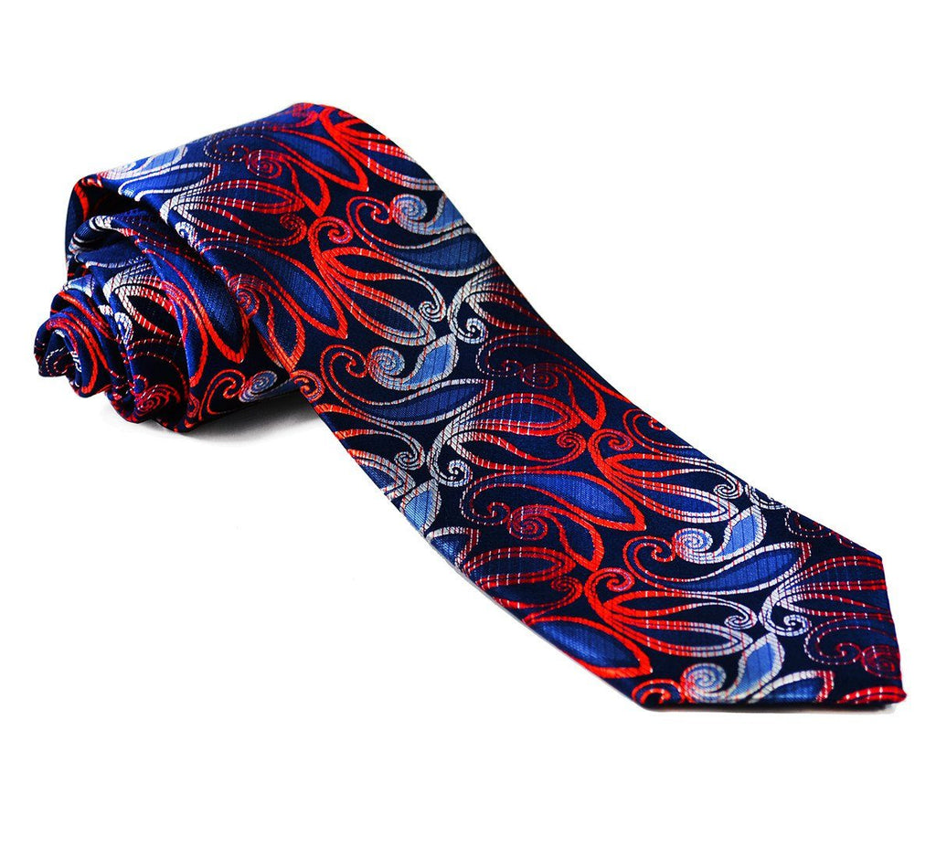 Blue and Fire Red Silk Tie Set Paul Malone Ties - Paul Malone.com