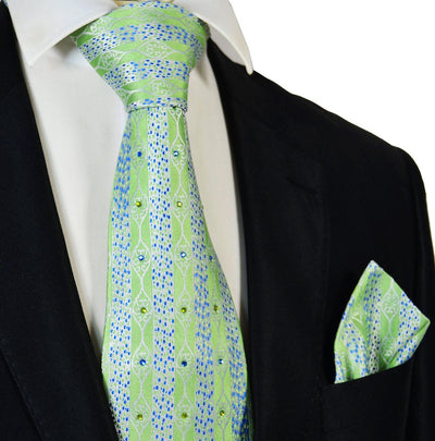 Summer Green Crystal Silk Tie and Pocket Square Set Steven Land Tie - Paul Malone.com