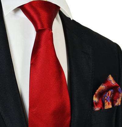 Solid True Red Big Knot Silk Tie with Reversible Pocket Square Steven Land Tie - Paul Malone.com