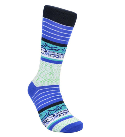 Turquoise and Black Paisley Cotton Dress Socks By Paul Malone