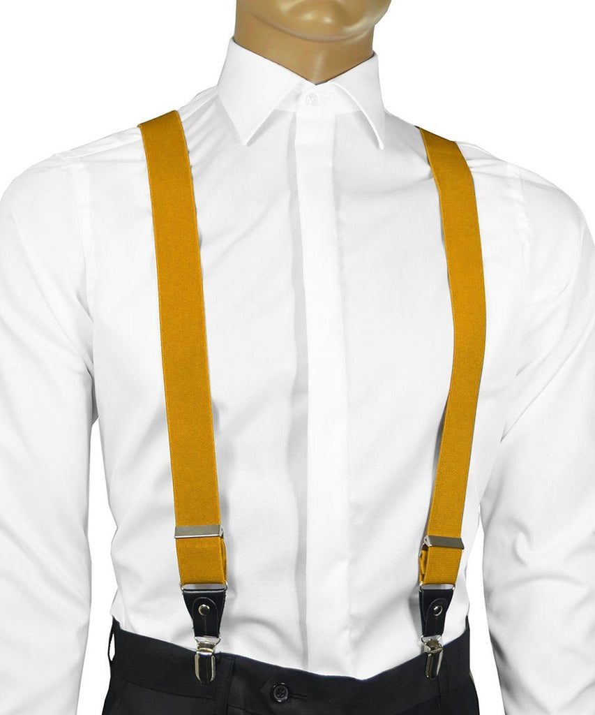 Solid Sunflower Yellow Men's Suspenders Suspenders Suspenders - Paul Malone.com