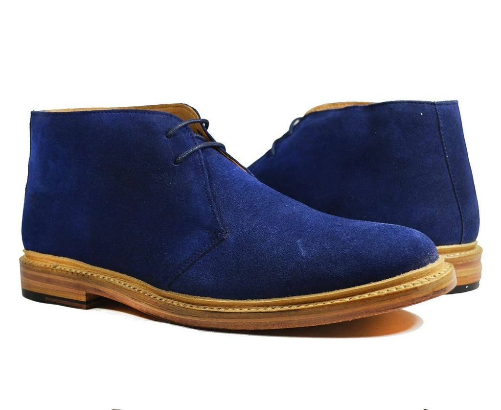 SAHARA Blue Suede Chukka Ankle Boots by Paul Malone