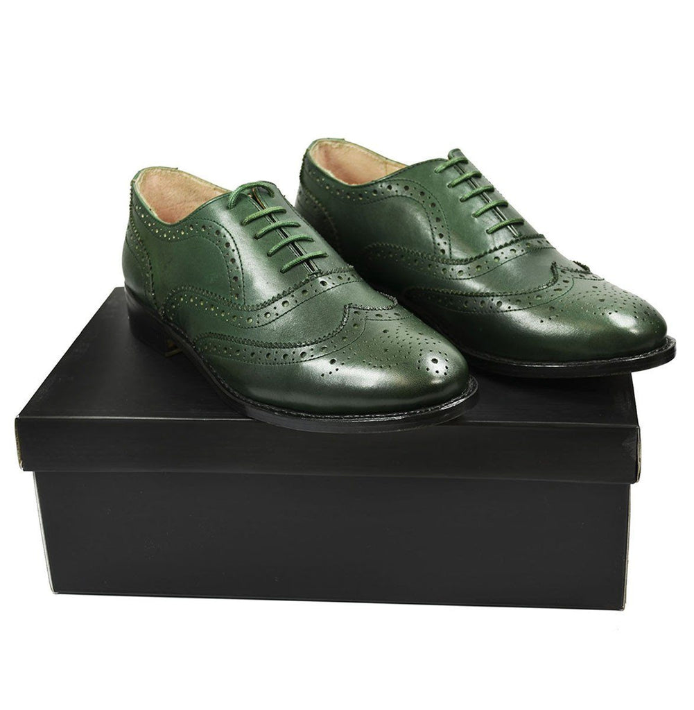 SEBASTIAN Full Brogue Oxford Leather Shoes in Pine Green Paul Malone Shoes - Paul Malone.com