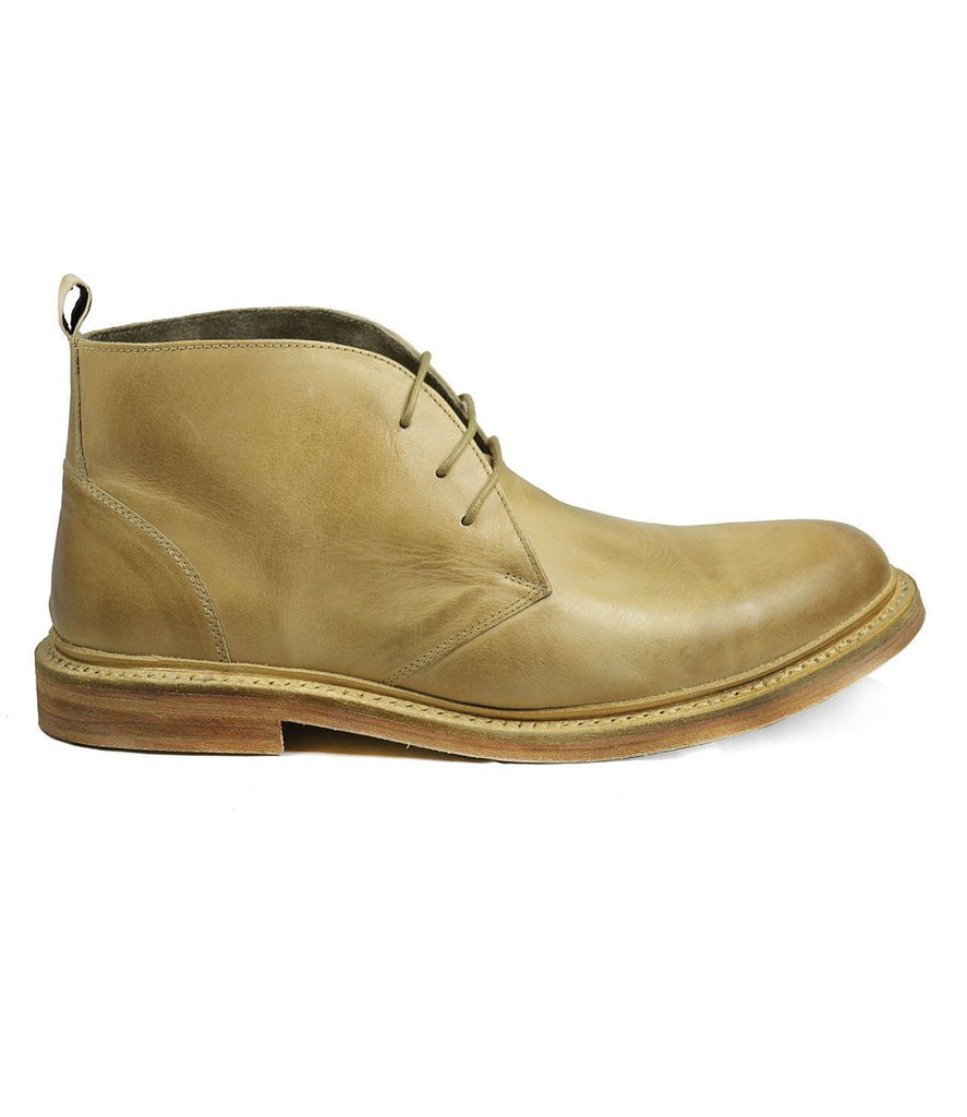 SHELTON Ivory Cap Toe Leather Boots by Paul Malone Paul Malone Shoes - Paul Malone.com