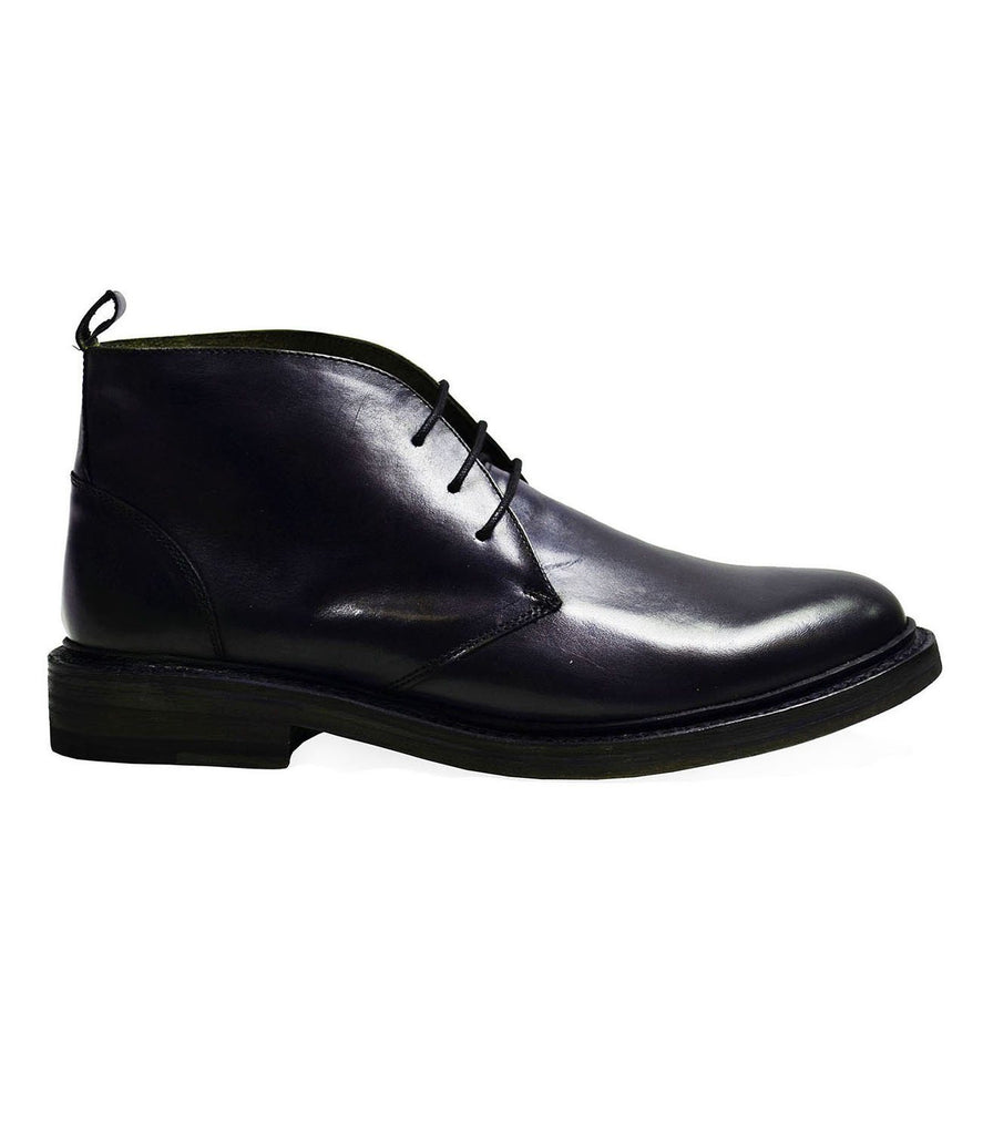 SHELTON Navy Full Leather Boots by Paul Malone Paul Malone Shoes - Paul Malone.com