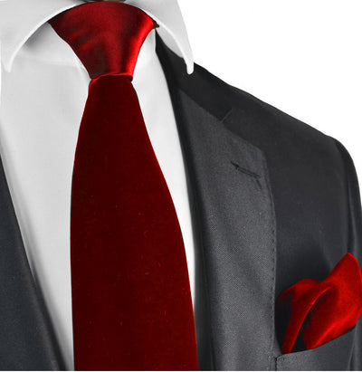 True Red Velvet Tie and Pocket Square Brand Q Ties - Paul Malone.com