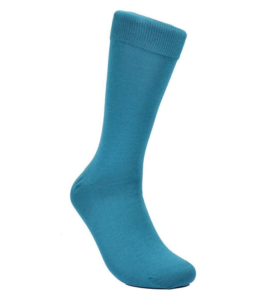 Solid Teal Blue Cotton Dress Socks By Paul Malone Paul Malone Socks - Paul Malone.com