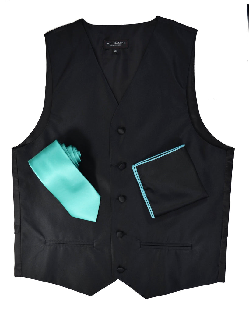 Solid Black Mens Tuxedo Vest, Tie and Trim Pocket Square Vest Set Vest - Paul Malone.com