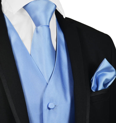 Solid Lite Blue Mens Tuxedo Vest, Tie and Trim Pocket Square Vest Set Vest - Paul Malone.com