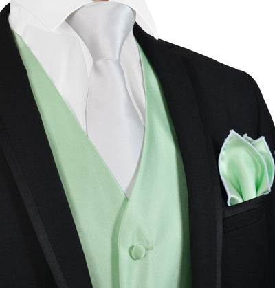 Solid Mint Green Mens Tuxedo Vest, Tie and Trim Pocket Square Vest Set Vest - Paul Malone.com