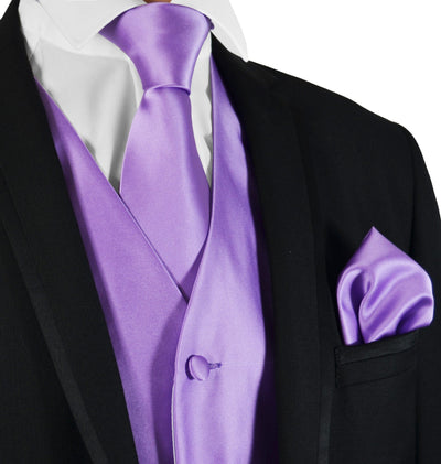 Solid Purple Mens Tuxedo Vest, Tie and Trim Pocket Square Vest Set Vest - Paul Malone.com