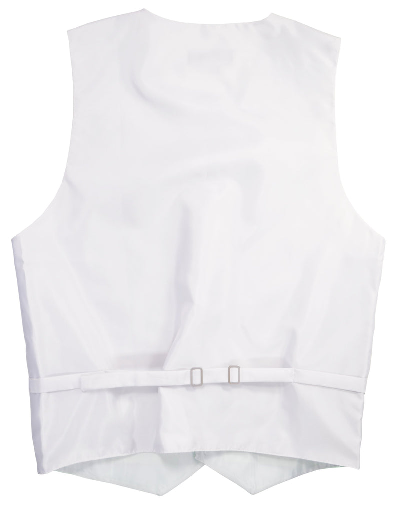 Solid White Mens Tuxedo Vest, Tie and Trim Pocket Square Vest Set Vest - Paul Malone.com