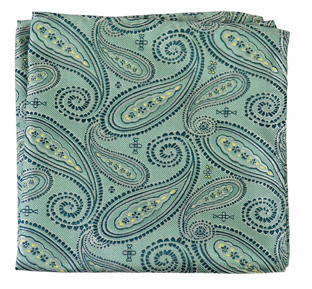 Extra Long Deep Sea Blue Paisley Necktie Set Paul Malone Ties - Paul Malone.com