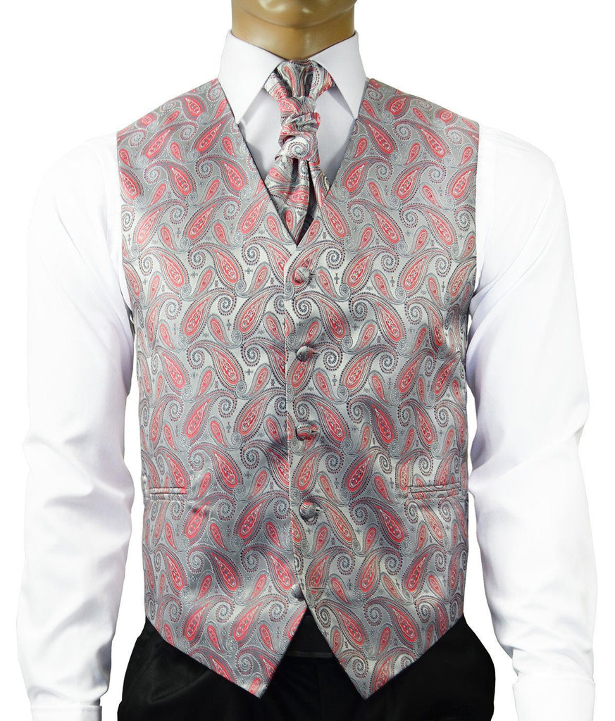 Silver and Cayenne Red Tuxedo Vest Set Paul Malone Vest - Paul Malone.com
