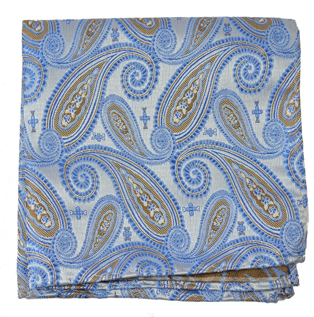 Extra Long Riviera Blue Paisley Necktie Set Paul Malone Ties - Paul Malone.com