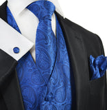 True Blue Paisley Tuxedo Vest Set Paul Malone Vest - Paul Malone.com