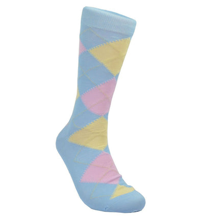 Lite Blue Argyle Cotton Dress Socks By Paul Malone Paul Malone Socks - Paul Malone.com
