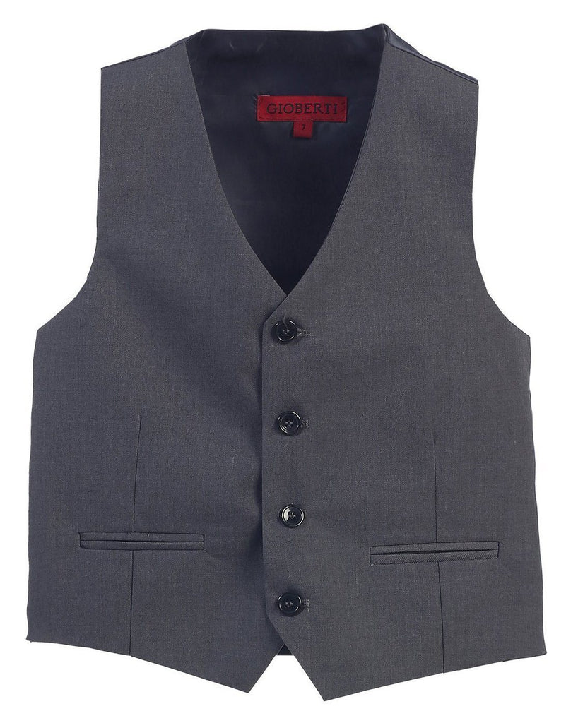 Boys Charcoal 4-Button Suit Vest Gioberti Vest - Paul Malone.com