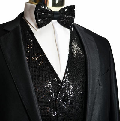 Black Men's Sequence Tuxedo Vest and Bow Tie Vesuvio Napoli Vest - Paul Malone.com