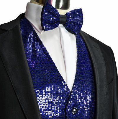 Royal Blue Men's Sequence Tuxedo Vest and Bow Tie Vesuvio Napoli Vest - Paul Malone.com