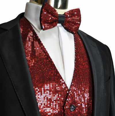 Formal Men's Sequence Tuxedo Vest and Bow Tie Vesuvio Napoli Vest - Paul Malone.com