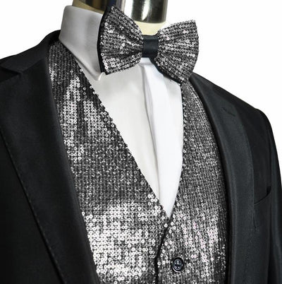 Silver Men's Sequence Tuxedo Vest and Bow Tie Vesuvio Napoli Vest - Paul Malone.com