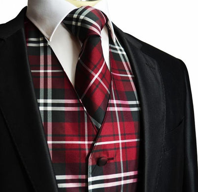 Men's Burgundy Plaid Suit Vest Set Vesuvio Napoli Vest - Paul Malone.com