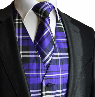 Purple and Black Plaid Suit Vest Set Vesuvio Napoli Vest - Paul Malone.com