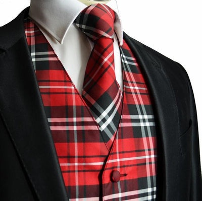 Red and Black Plaid Suit Vest Set Vesuvio Napoli Vest - Paul Malone.com