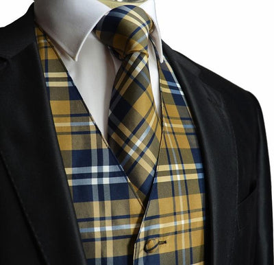 Tan and Navy Plaid Suit Vest Set Vesuvio Napoli Vest - Paul Malone.com