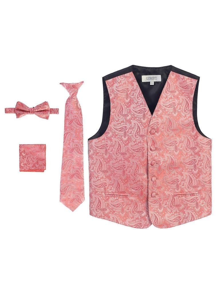 Coral Formal Boys Paisley Tuxedo Vest Set Gioberti Vest - Paul Malone.com