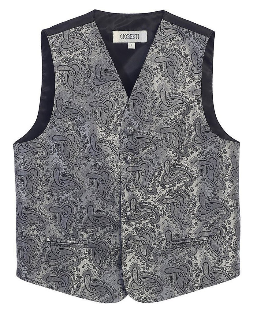 Grey Formal Boys Paisley Tuxedo Vest Set Gioberti Vest - Paul Malone.com