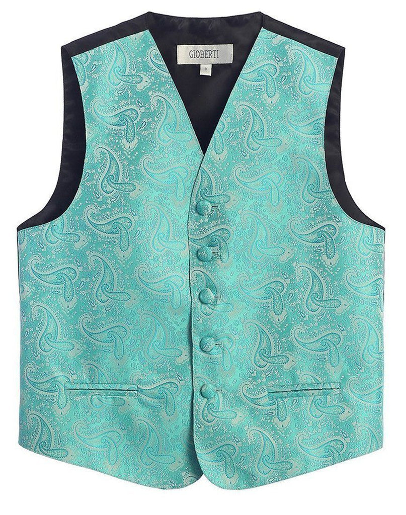 Mint Green Formal Boys Paisley Tuxedo Vest Set Gioberti Vest - Paul Malone.com