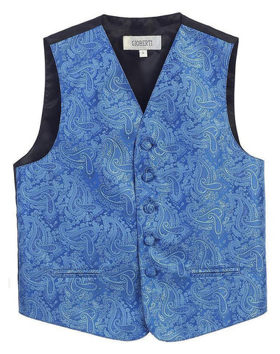 Royal Blue Formal Boys Paisley Tuxedo Vest Set Gioberti Vest - Paul Malone.com
