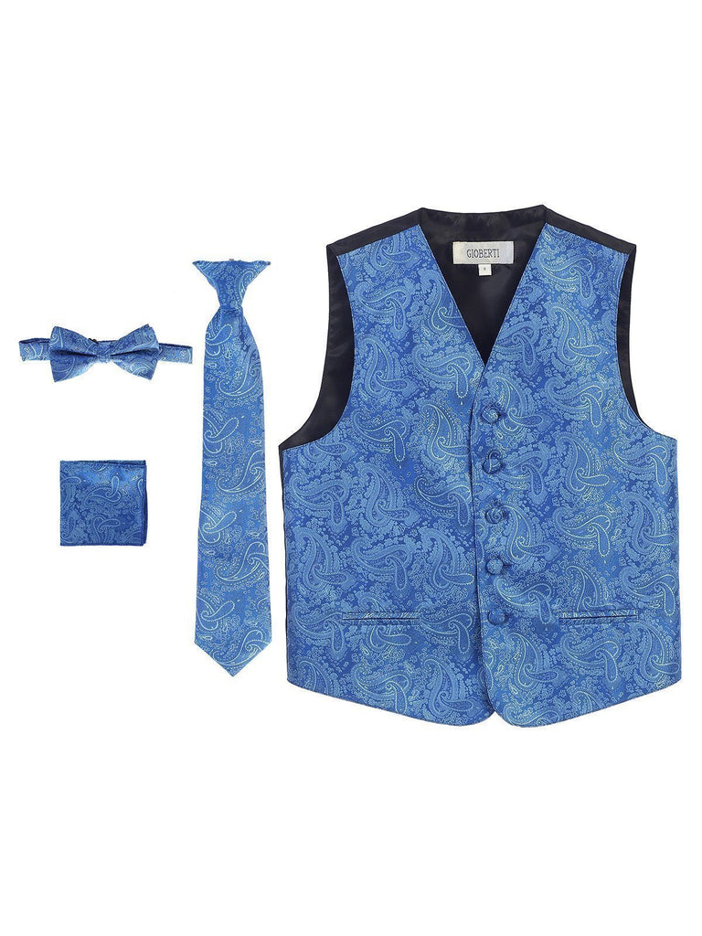 0129a70ad1e6a Royal Blue Formal Boys Paisley Tuxedo Vest Set – Paul Malone