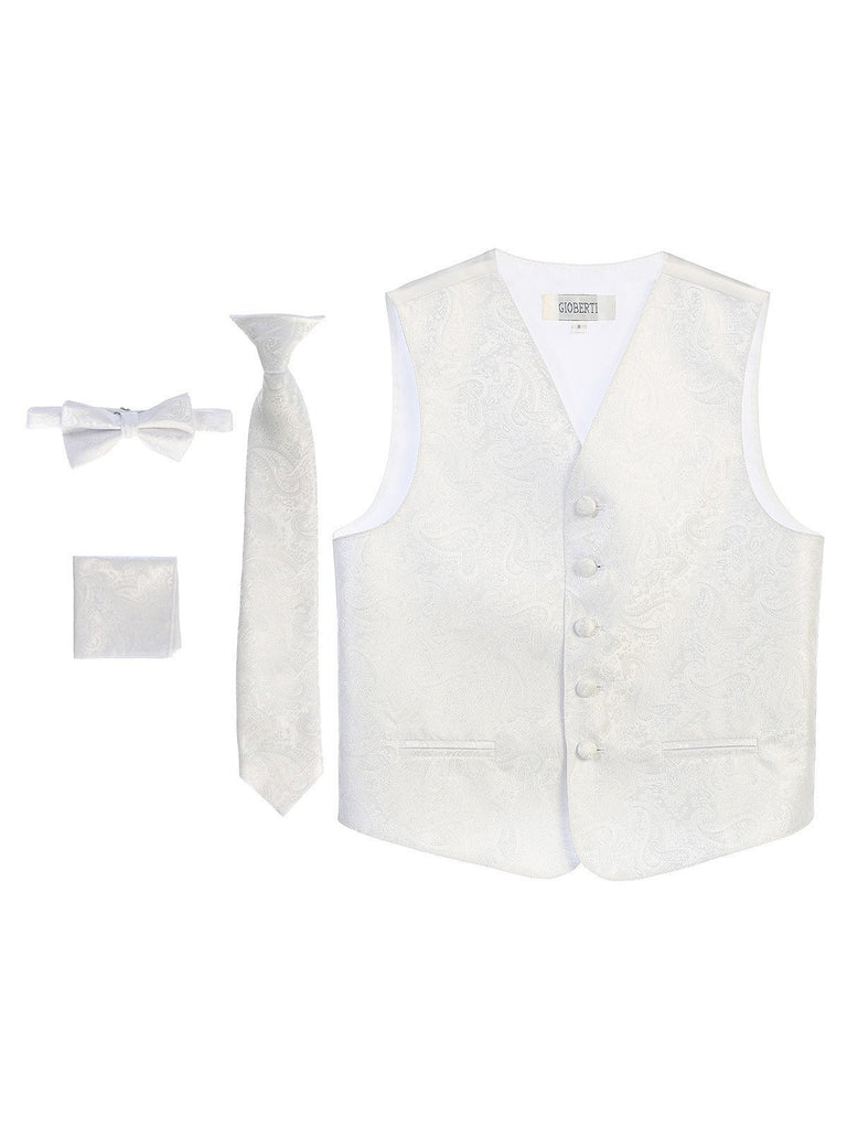 White Formal Boys Paisley Tuxedo Vest Set BoysTux.com  - Paul Malone.com