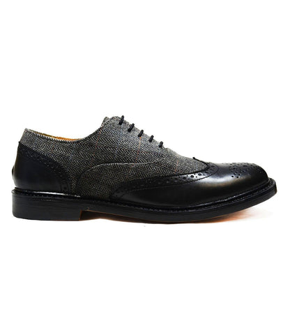OSCAR Black Wing-Tip Loafers, All Leather by Paul Malone