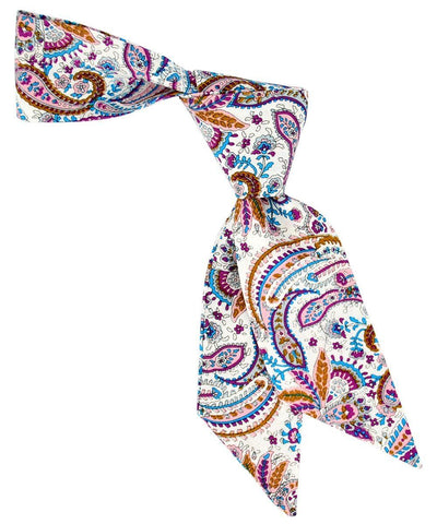Pink, Purple, Blue and Bronze Paisley Patterned Hair Tie Tie Passion Womens Ties - Paul Malone.com