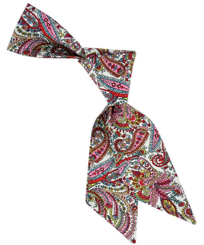 Pink, Red, Aqua and Yellow Paisley Patterned Hair Tie Tie Passion Womens Ties - Paul Malone.com