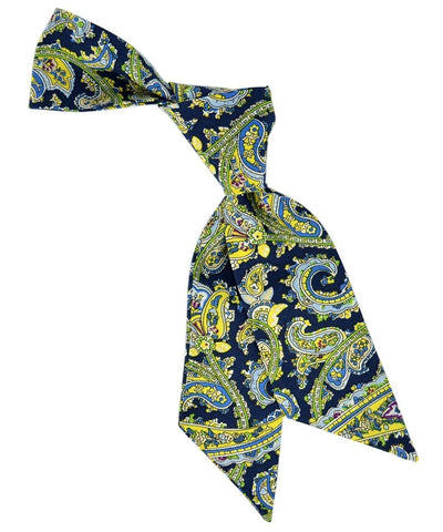 Navy, Green and Yellow Paisley Pattern Womens Tie Tie Passion Womens Ties - Paul Malone.com