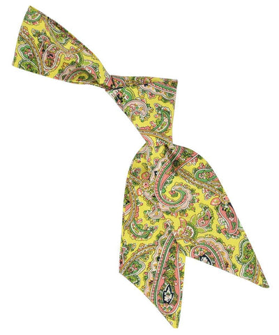 Yellow, Green and Pink Paisley Pattern Hair Tie Tie Passion Womens Ties - Paul Malone.com
