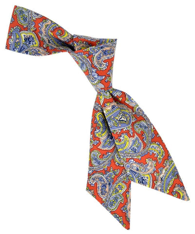 Red, Stonewash and Yellow Paisley Pattern Hair Tie Tie Passion Womens Ties - Paul Malone.com