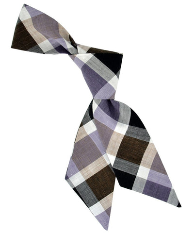 Purple, Taupe and Black Plaid Women's Hair Tie Tie Passion Womens Ties - Paul Malone.com