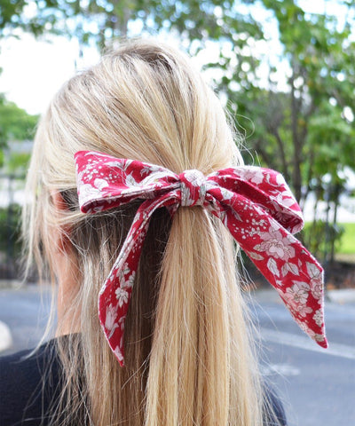 Red and White Floral Hair Tie Tie Passion Womens Ties - Paul Malone.com