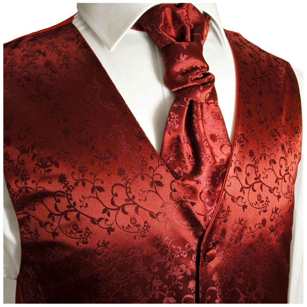 Burgundy Vines Tuxedo Vest Set Vest Paul Malone