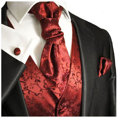 Burgundy Vines Tuxedo Vest Set Paul Malone Vest - Paul Malone.com