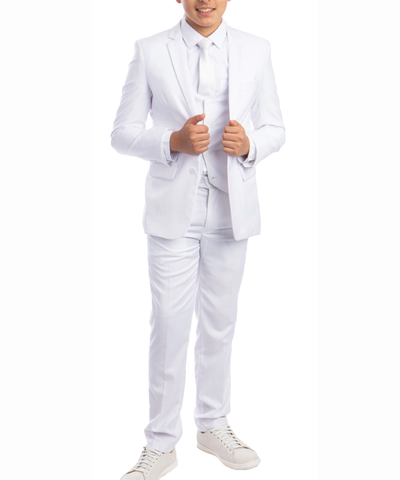 Solid White Boys Suit Set with Vest, Tie and Shirt Perry Ellis Suits - Paul Malone.com