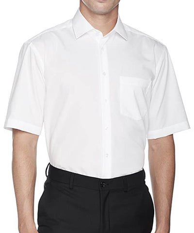 White Poplin Short Sleeve Dress Shirt Modena Shirts - Paul Malone.com