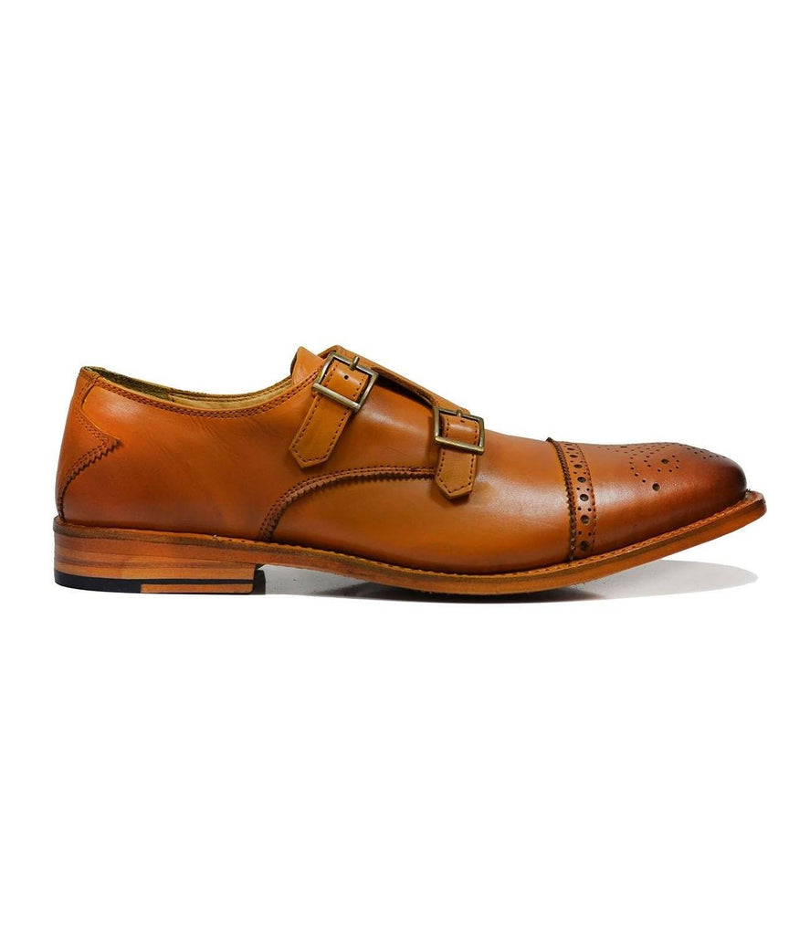 WILLIAMS Classic Brown Monk Strap Full Leather Dress Shoes Paul Malone Shoes - Paul Malone.com