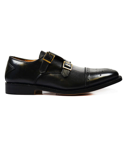 WILLIAMS Classic Brown Monk Strap Full Leather Dress Shoes